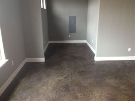 how to stain a concrete basement floor stained concrete floors floors grey walls