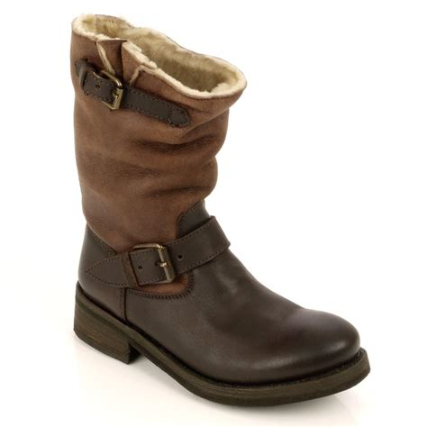 brown biker boots tundra shearling lined brown leather biker boot ash