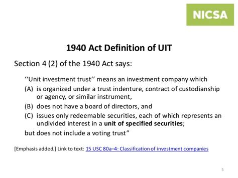 investment company act of 1940 section 3 c 1 unit investment trusts