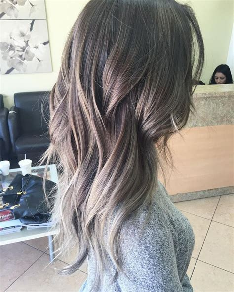 pictures of dark brown hair with gray highlights grey highlights on brown hair www imgkid com the image