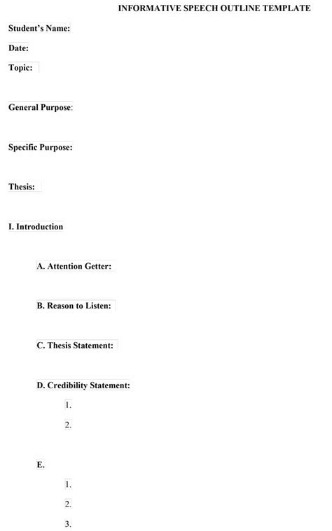 outline templates 43 informative speech outline templates exles