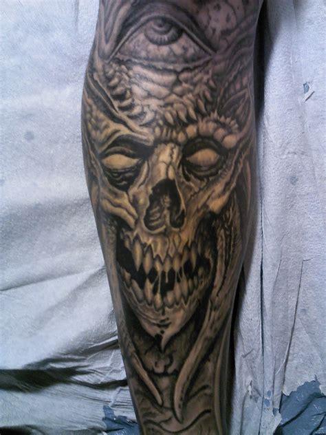tattoo pictures skulls demons tattoosbychrisamlie demon skull tattoo biomech tattoo
