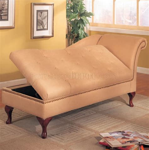 chaise storage lounge tan microfiber classic chaise lounge w flip open storage
