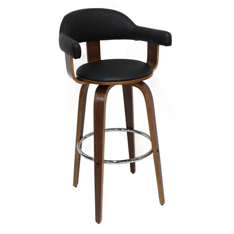 Black Leather Bar Stools With Back Joveco Black Pu Leather Semi Open Back Bar Stool Joveco