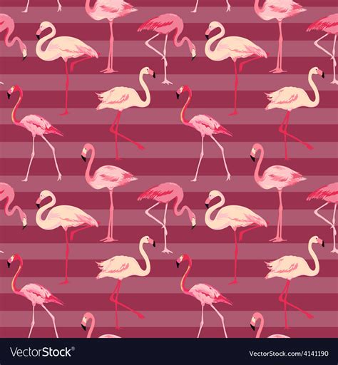 Flamingo Bird Retro Backgroundz flamingo bird background retro seamless pattern vector image