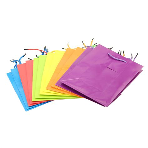 Paper Gift Bags - 12 bright neon colorful gift bags paper bags