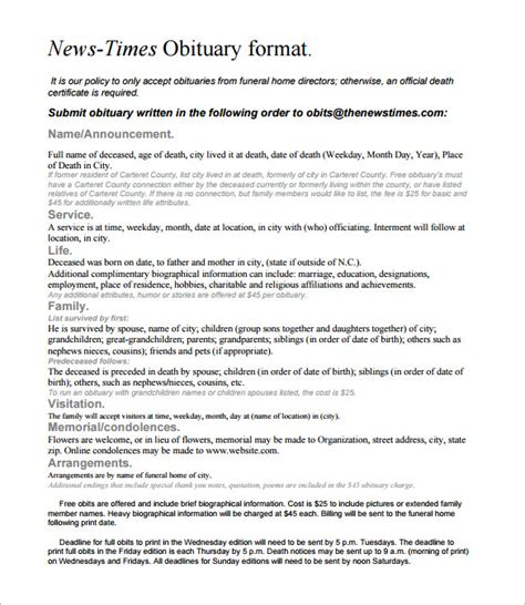 Template For Writing An Obituary by 6 Newspaper Obituary Templates Free Sle Exle
