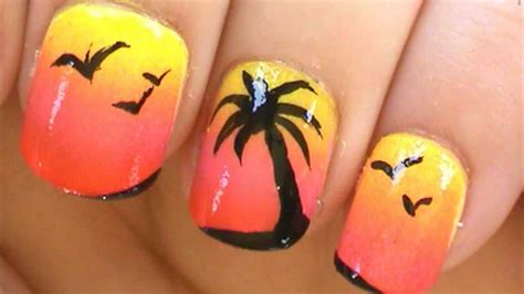 easy nail art palm tree palm tree nail art tutorial youtube