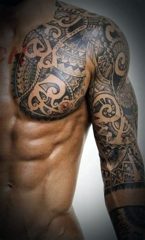 tattoo ideas chest and arm wonderful aztec tribal tattoo on left chest and full sleeve