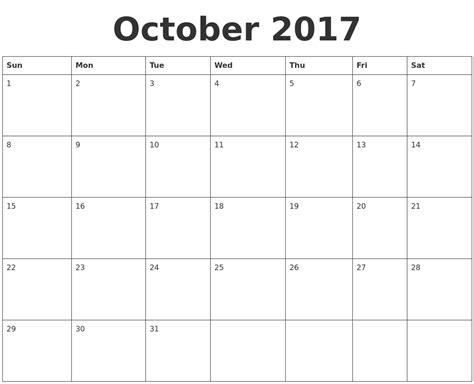 printable weekly calendar 2017 october october 2017 calendar monday september printable calendars