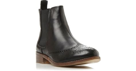 dune chelsea boots dune quentin brogue chelsea boots in black black leather