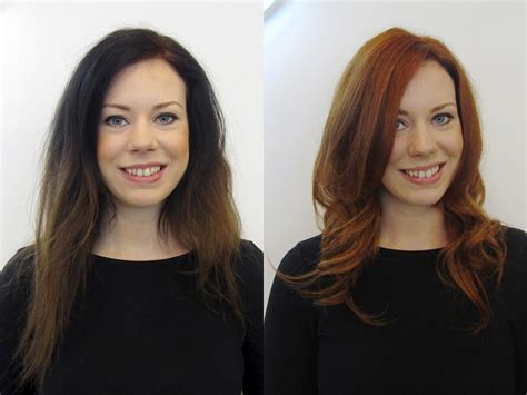 long hair short hair before after photos before after client style long to short haircuts copper