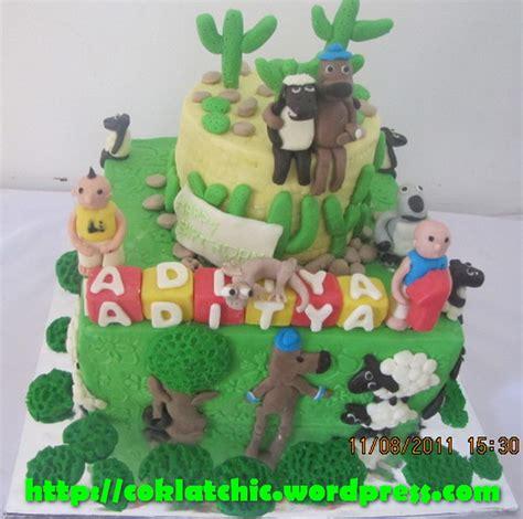 membuat kue upin ipin cake bernard bear ipin upin shaun the sheep dan oscar the