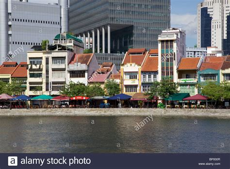 singapore boat house old shop houses contrast with modern skyscrapers at boat