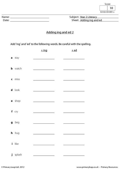 Ed Worksheets by Adding Ing And Ed 2 Primaryleap Co Uk
