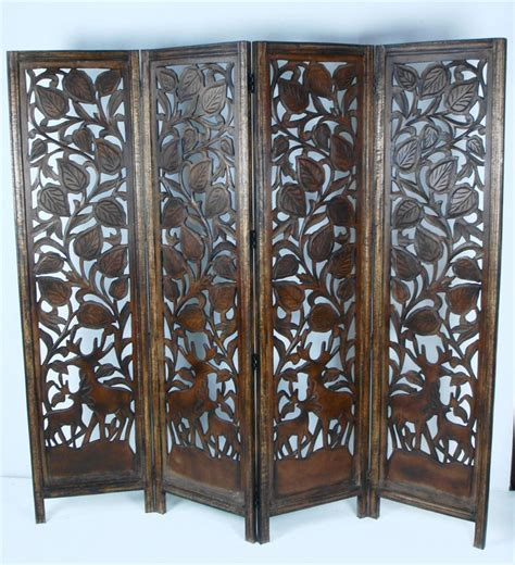 4 Panel Carved Heavy Duty Indian Stag Deer Wooden Screen Carved Wood Room Divider