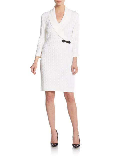 white cable knit sweater dress calvin klein shawl collar cable knit sweater dress in