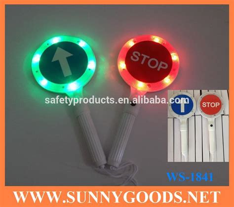 hand held stop sign with led lights high quality led handheld police luminous board traffic