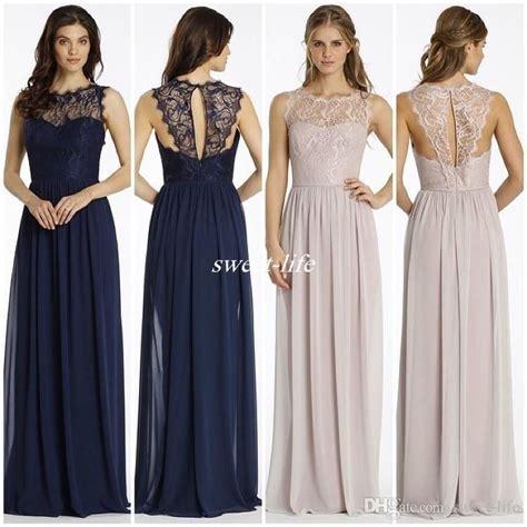 New Design Lace Bridesmaid Dresses Long Navy Blue Chiffon