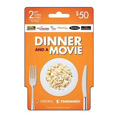 Dinner Movie Gift Cards - darden and fandango dinner and a movie 50 2 25 gift cards sam s club