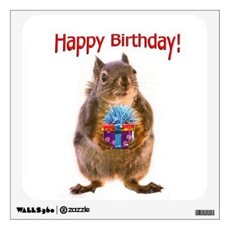 Squirrel Birthday Card Happy Birthday Squirrel With Present Room Decal Cute