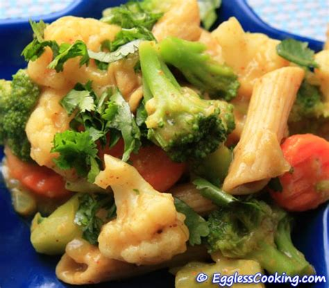 Light Green Veggie Pasta For Dinner by Curried Pasta Recipe Eggless Cooking