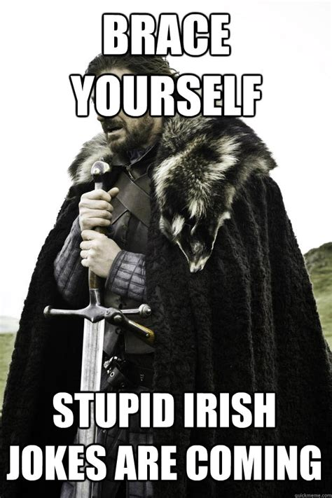 Irish Memes - brace yourself stupid irish jokes are coming winter is
