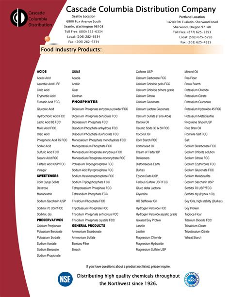 product line card template free line card cascade columbia distribution