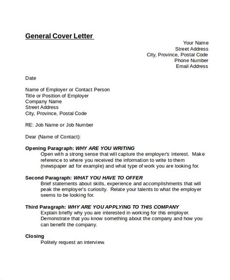 template of a general cover letter general cover letters