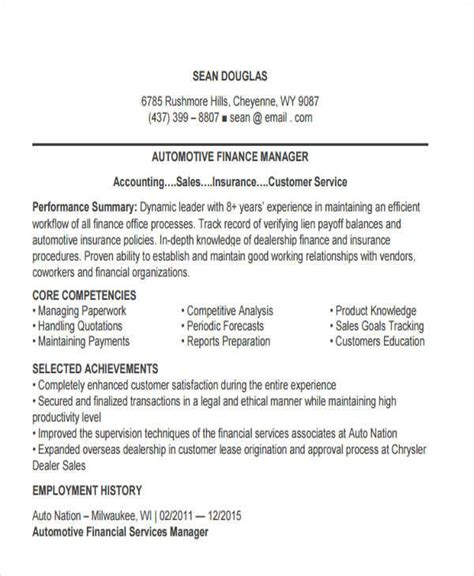 Automotive Finance Manager Sle Resume by 43 Manager Resumes In Pdf