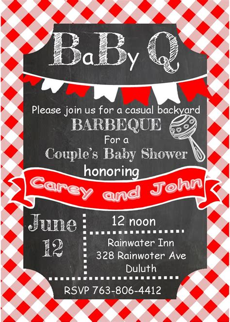 Baby Shower Invitations For Couples Summer 2018 Partyinvitations Com Baby Q Invitations Templates Free