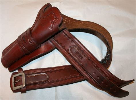 tooled leather western gun belt and holster davis