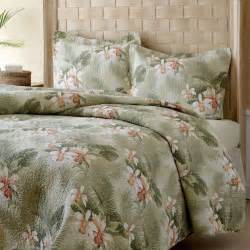 Coverlets Queen Size King Size Cotton Quilt Set Green Peach Tropical Island