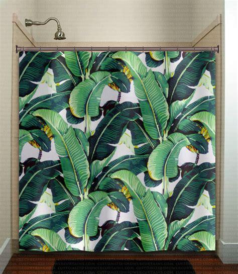 Tropical jungle palm banana leaf shower curtain brazilliance green ebay