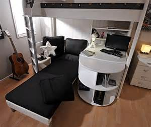stompa casa 4 white loft bed with desk and black sofa bed