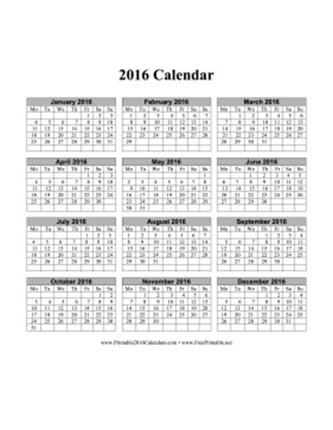 printable vertical year planner 2016 printable 2016 calendar on one page vertical months run