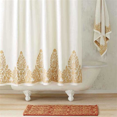 white and gold shower curtain nadir pearl white gold shower curtain