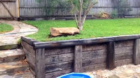 How To Build Retaining Wall With Railway Sleepers by Railway Sleeper Retaining Wall Update