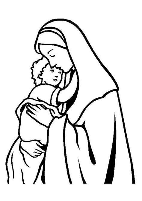 Coloriage Noel Chrétien Mère et Son enfant - Hugolescargot