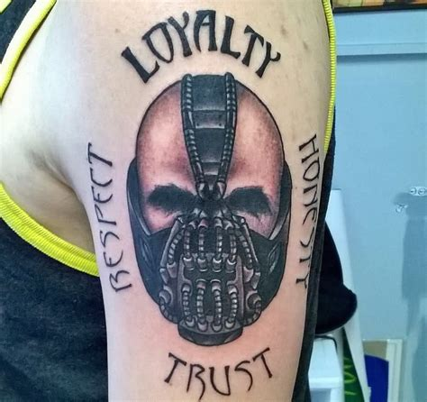 loyalty tattoo on face realistic 3d bane design for arm