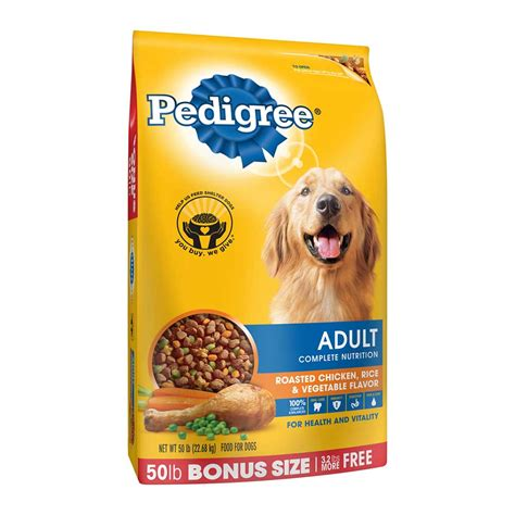 pedigree food pedigree chicken flavor food special fiber blend 50 lb bonus size ebay