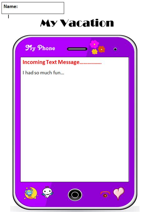 Common Core Graphic Organizer Narrative My Vacation Text Message Templates Free