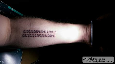hacker tattoo logic in binary geeky tattoos
