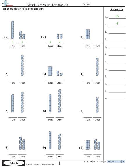 Place Value Relationships Worksheets by K Nbt 1 Worksheets