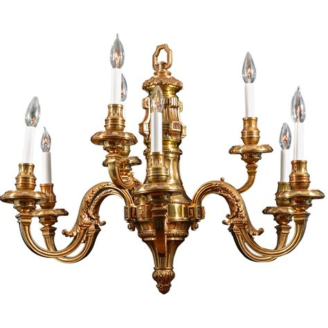 Chandelier Is Nine Light Simple Georgian Cast Brass Chandelier For Sale