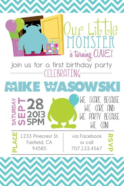 Invitation Inc printable monsters inspired 1st birthday birthday invitation diy monsters inc monsters and