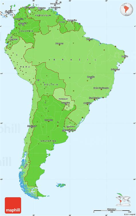 south america map borders political shades simple map of south america single color
