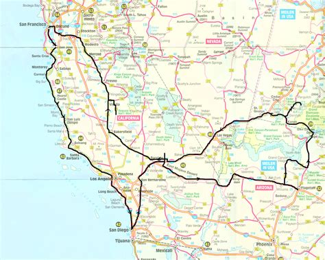 maps usa west coast route and usa west coast road trip world maps with maps