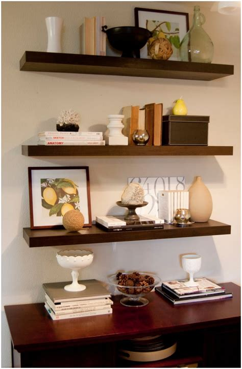 Large Shelf Decorating Ideas by Floating Wall Shelving Display Ideas Cool Floating Shelf