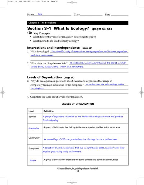 Chapter 3 The Biosphere Section Review 3 1 by Section 3 1 What Is Ecology Pages 63 65 Berlin